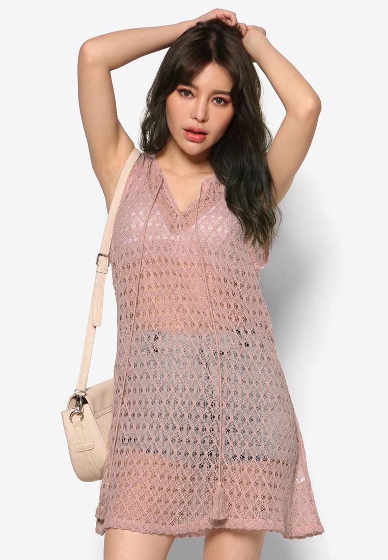 K Style Tasseled Lace Sleeveless Dress