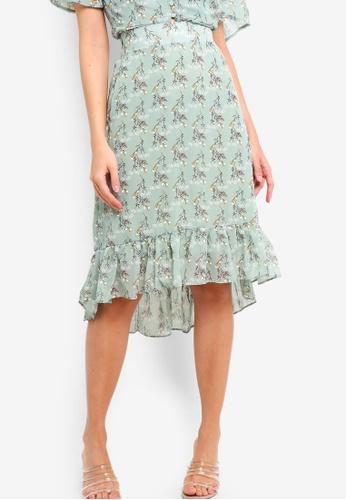 ZALORA green and multi Ruffles Skirt DD2A5AAF04DF58GS_1