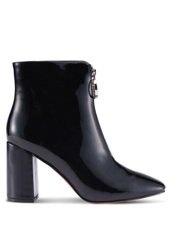 Public Desire black Flashy Zip Front Patent Ankle Boots 870A6SHD783E46GS_1