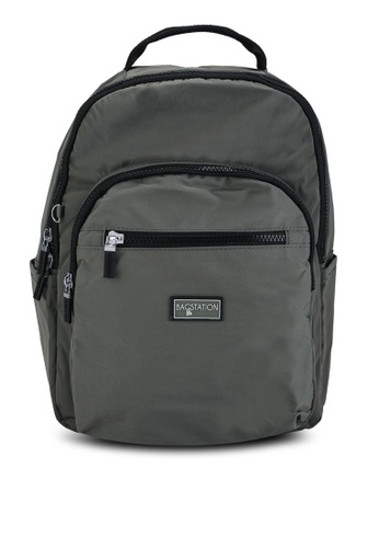 Bagstationz green Contrast Zip Nylon Small Backpack 1193AAC9ED3362GS_1