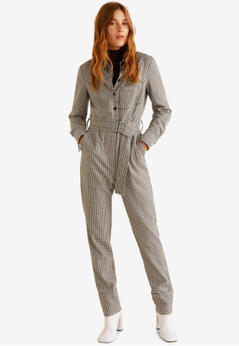 Mango brown Gingham Check Jumpsuit AA897AA5603516GS_1