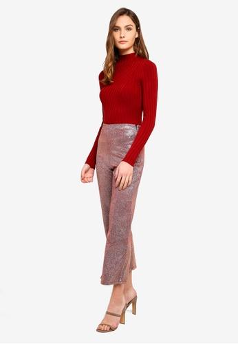 Pink Leg Petite Shimmer Trousers Wide ARLj35q4
