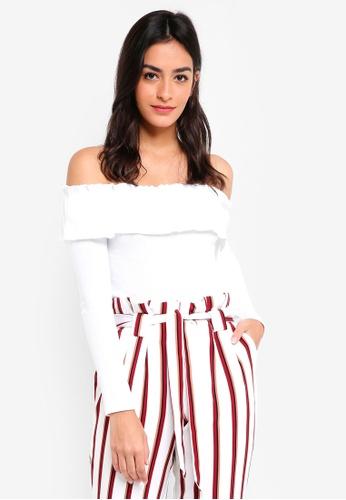 5d12cde6091598 Buy Miss Selfridge Ruffle Rib Long Sleeve Lettuce Top