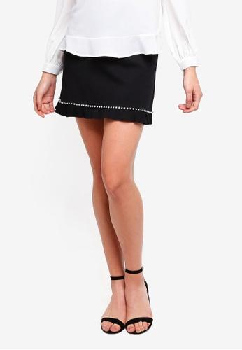 French Connection 黑色 鑽飾褶飾下擺短裙 B95F4AA085F85DGS_1
