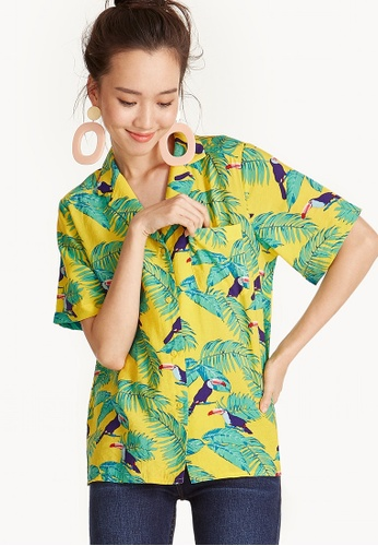 Pomelo multi Lightweight Print Button Up Shirt - Tropical 54A2BAA1B9CD03GS_1