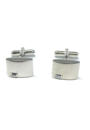 Splice Cufflinks silver Rectangular Crystal Silver Rectangle Cufflinks SP744AC14FTDSG_1