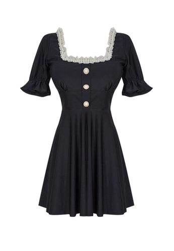 ZITIQUE black Women's Japanese Style Elegant Ruffled Short Sleeve One-piece Swimsuit - Black D7AA9US699FB19GS_1