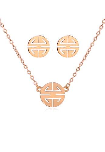 CELOVIS gold CELOVIS - Miracle Wufu Amulet Necklace + Earrings Jewellery Set in Rose Gold A19EAAC244D004GS_1