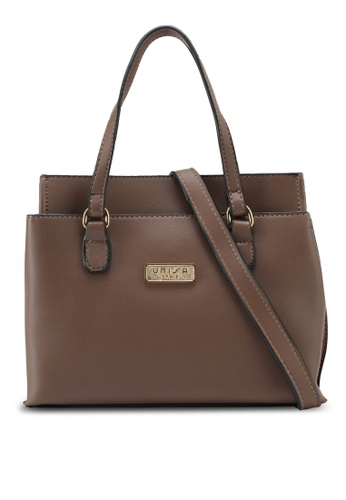 Unisa brown Faux Leather Multi-Compartment Top Handle Bag UN821AC0SIMHMY_1