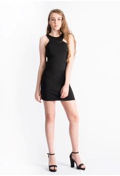 Margaret Asymmetric Cutaway Neck Dress