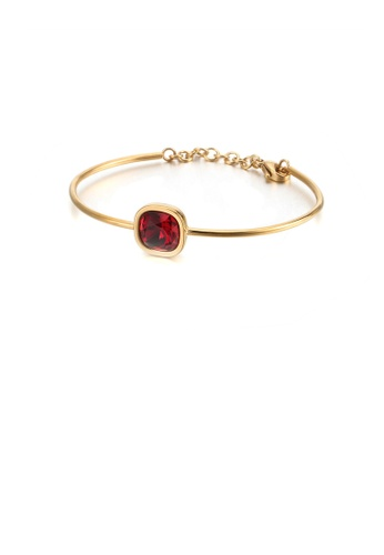 Glamorousky gold Fashion Simple Plated Gold Geometric Square Rose Red Cubic Zirconia 316L Stainless Steel Bangle 1A191ACE69768FGS_1