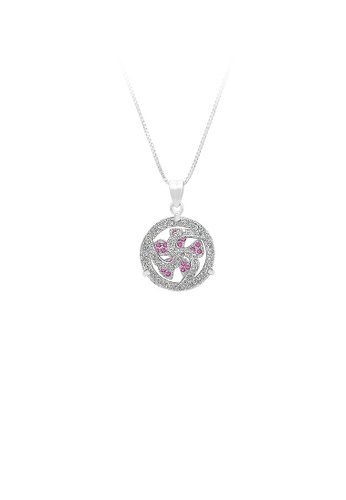 Glamorousky silver 925 Sterling Silver Windmill Pendant with Rose Red Cubic Zircon and Necklace D5721AC56C8708GS_1