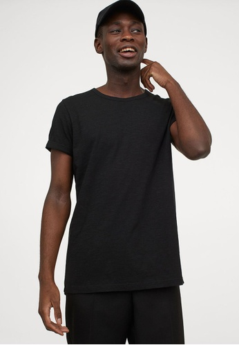 H&M black Slub Jersey T-Shirt 54B3EAAC252A78GS_1
