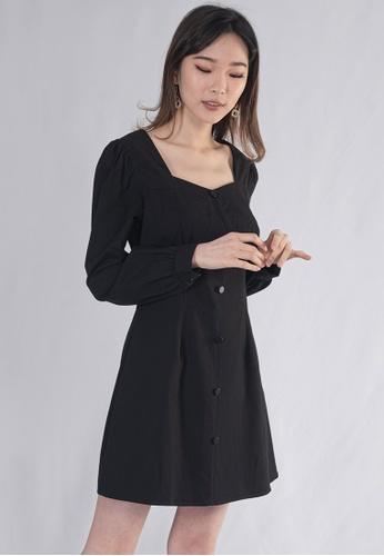 Plain B. black PLAIN B. SQUARE NECKLINE LONG SLEEVE MINI DINNER DRESS 98BEFAA278887BGS_1