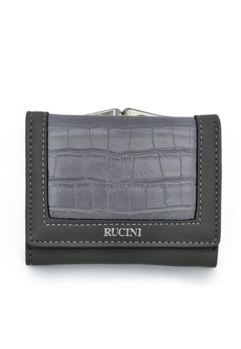 RUCINI grey Rucini Ladies Short Tri-Fold Kiss Lock Wallet AB00CACBF582F5GS_1