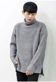 【ZALORA】 寬鬆高領針織上衣
