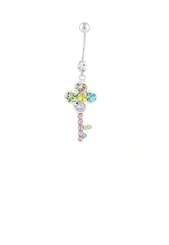 Glamorousky multi Dazzling Key Belly Ring with Multi Color Austrian Element Crystals and CZ Beads 56E77ACECE402EGS_1