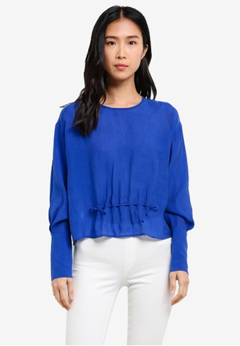 Mango blue Ruched Detail Blouse MA193AA0SD13MY_1