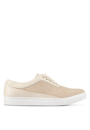 JAXON beige Mixed Materials Linen Sneakers 9EE4CSHBA6AEE3GS_1