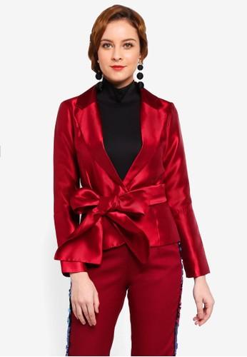 Lubna red Ribbon Tie Jacket CB479AA8F5449FGS_1