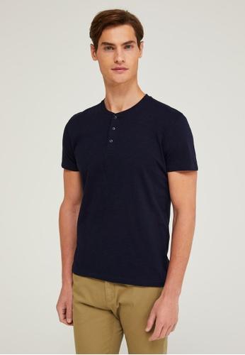 Sisley blue Henley T-shirt 1CFE4AAFC2997EGS_1