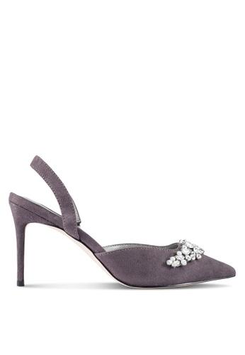 ZALORA 灰色 Embellished 低跟鞋 AE646ZZ5405EA9GS_1