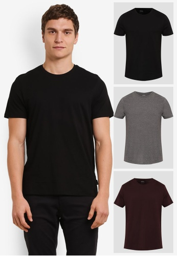 Burton Menswear London black and red and multi 3 Pack Basic T-Shirts BU964AA0S7EUMY_1