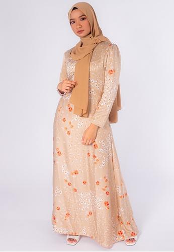 Zaryluq orange and brown Bloom Maxi Dress in Tiger Lily BA9D3AA776DD6BGS_1
