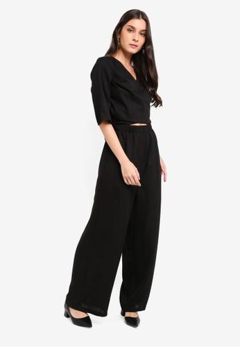 ZALORA black Kimono Sleeves Wrap Jumpsuit 05F99AAC9F8CC9GS_1