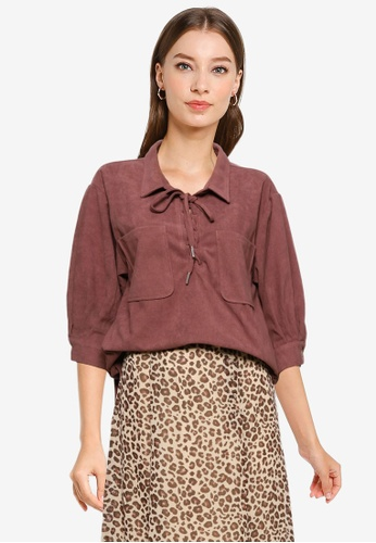 Heather brown Lace Up Top B6FFEAAA299428GS_1