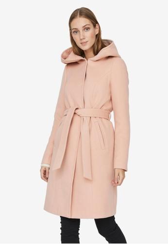 Vero Moda pink Calalyon Hood 3/4 Coat 0FF94AA83F97F6GS_1