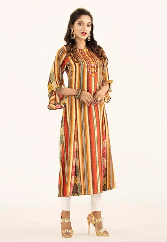 Le Reve orange and yellow and multi Le Reve Dress 3/4 Flare Sleeves with embelishment 62618AA38703CAGS_1