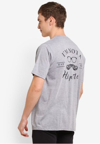 Private Stitch grey T-Shirts with Moustache Embroidery PR777AA0S8QQMY_1