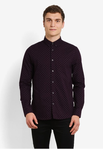 Burton Menswear London red Burgundy Long Sleeve Geometric Print Oxford Shirt BU964AA0RZGOMY_1