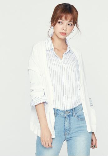 H:CONNECT white Plain Knitted Coat E940EAA164525FGS_1