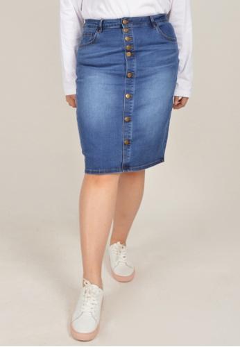 Cheetah blue Arissa Plus Size Knee Length Skirt - ARS-12046 07498AAC0D280DGS_1