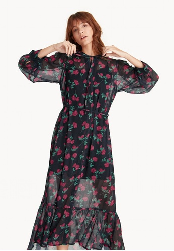 Pomelo black Maxi Floral Flounce Button Up Dress - Black 6762AAA2481B91GS_1