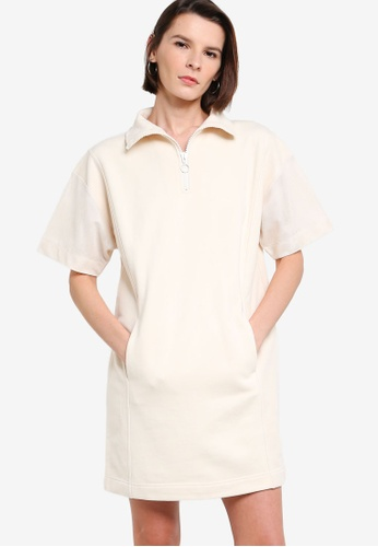 ck Calvin Klein beige LOOP BACK COTTON TERRY MESH DRESS WITH RING PULLER AEF2BAAAA639C4GS_1