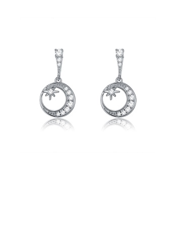 Glamorousky white 925 Sterling Silver Romantic Star Moon Earrings  with Austrian Element Crystal 3B6BCACFA25F93GS_1