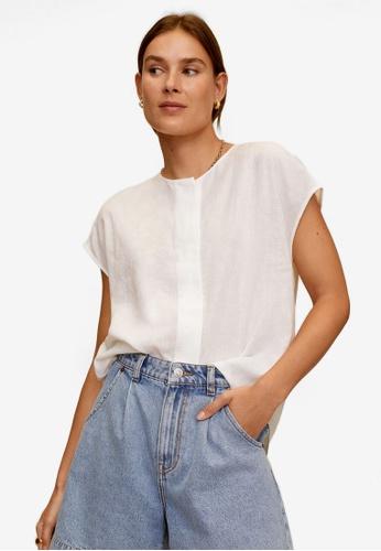 Mango white Cap Sleeves Casual Blouse 6EAE5AAEC8F329GS_1