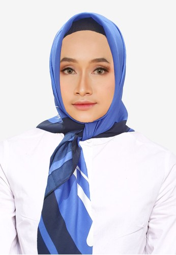 San Marco blue and multi Nadya Voal Square Scarf Black 747FEAA848701EGS_1