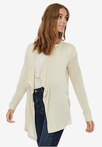 Vero Moda beige Lina Long Sleeves Drape Cardigan 471A9AAC2164F8GS_1