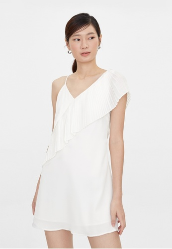 Pomelo white Pleated One Shoulder Strap Dress - White 974B8AA4D5FECAGS_1