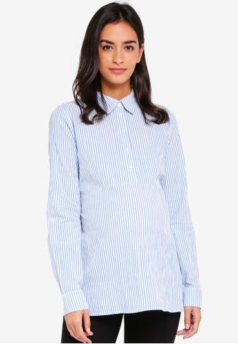 Mama.licious white and blue Maternity Lenna Long Sleeve Woven Shirt 1E3C9AA9B6BE6DGS_1