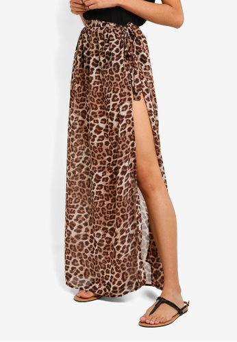 a503af6c50 Miss Selfridge brown Leopard Wrap Maxi Beach Skirt C4E32AA536F736GS_1