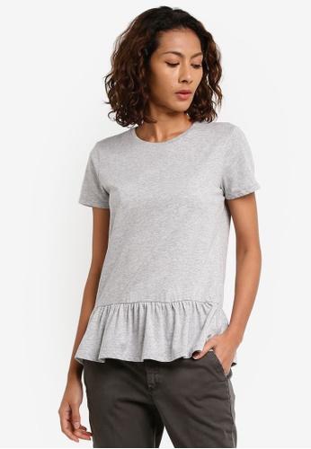 Sisley grey Ruffled T-Shirt 1B494AAD043DEAGS_1