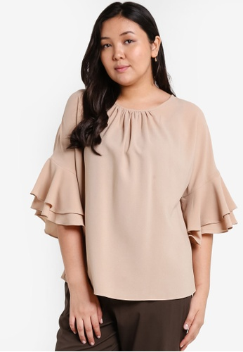 Ex'otico brown Plus Size Frilly Sleeve Round Neck Blouse EX373AA28OALMY_1