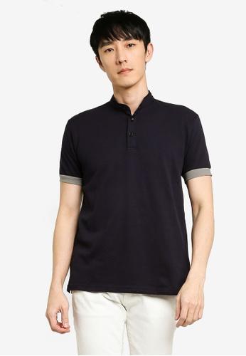 UniqTee navy Textured Cotton Polo Shirt 05C97AAADFF665GS_1