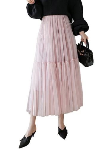 Halo pink Layered Net Yarn Skirt 3D265AA6922518GS_1