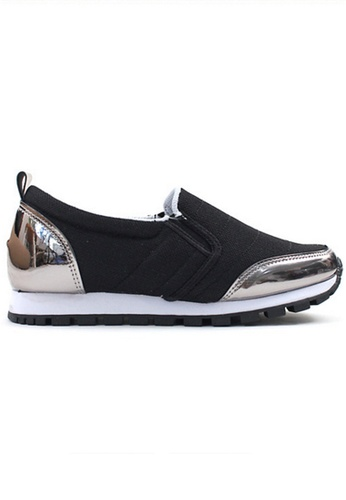 Crystal Korea Fashion black and silver Korean-made Comfortable Flat Shoes 17171SHDB7ED91GS_1